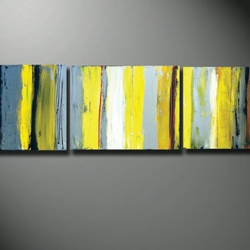 Yellow Canvas Art, Gray And Yellow Art, From Oritart On Etsy with Yellow and Grey Abstract Wall Art