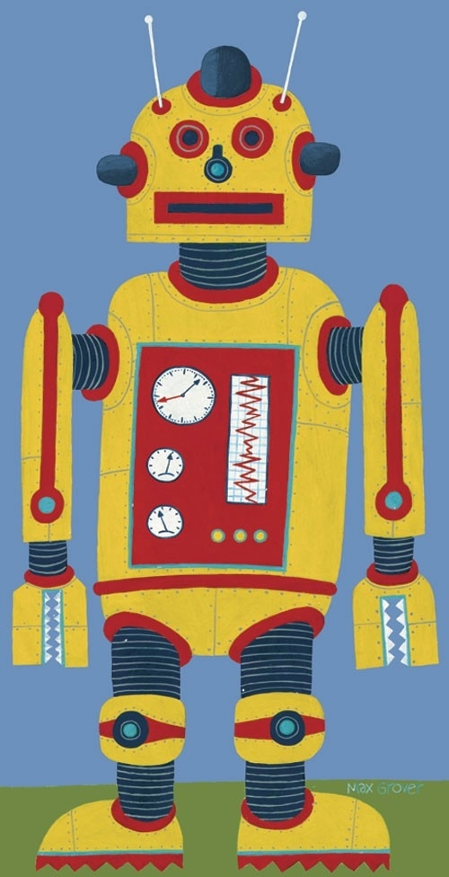 Yellow Robot Canvas Wall Artoopsy Daisy – Rosenberryrooms Intended For Robot Canvas Wall Art (Image 15 of 15)