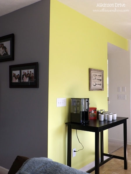 Yellow Wall And Gray Tile - Google Search | Living Room inside Yellow Wall Accents