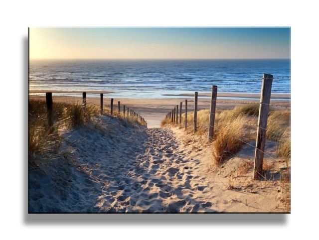 Yixuanwall Art Canvas Prints Footprints Beach Wall Art Oil Throughout Beach Canvas Wall Art (Image 15 of 15)