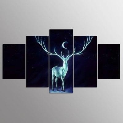 Ysdafen 5 Panels Hd Printed Deer Wall Art Painting Canvas Print Regarding Deer Canvas Wall Art (Image 15 of 15)