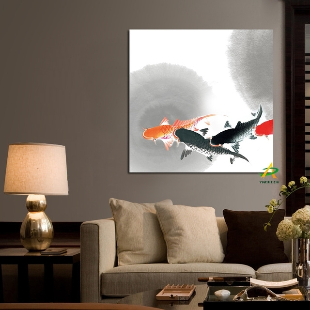 Ywdecor Big Size Wall Art Picture Traditional Chinese Calligraphy with Koi Canvas Wall Art