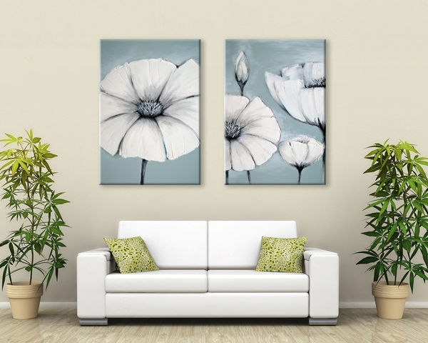 Zen Canvas Wall Art Duck Egg Blue /green /white Grey Japanese Within Canvas Wall Art Pairs (Image 15 of 15)