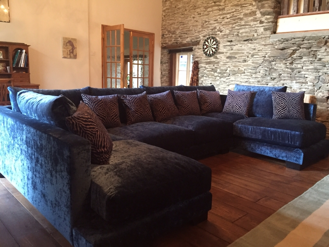 Zinnia 355 Cm X 205 Cm U Shaped Sofa In Modena Crushed Velvet with regard to Blue U Shaped Sectionals