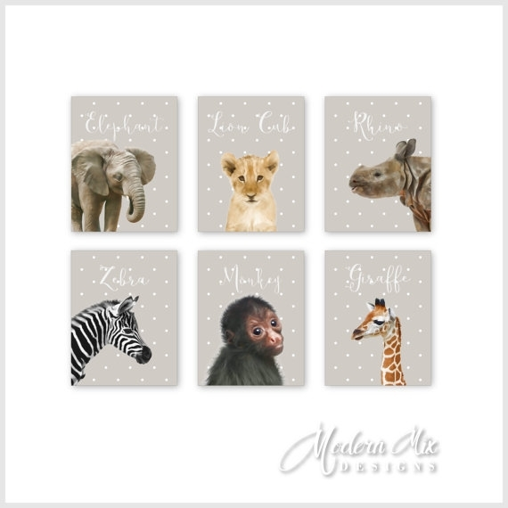 Zoo Animals Canvas Nursery Decor Wall Art Safari Animals Within Safari Canvas Wall Art (View 13 of 15)