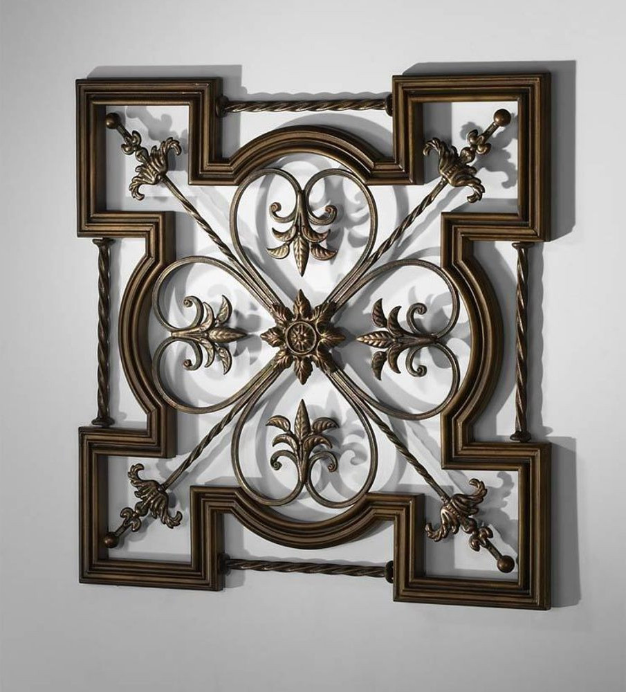 Italian Wall Decor Awesome Ornate Tuscan Old World Wrought Iron & Wood Fleur De Lis (View 20 of 20)