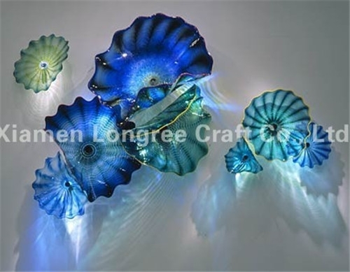 100% Hand Blown Murano Glass Wall Plates For Wedding Decoration-In in Glass Plate Wall Art