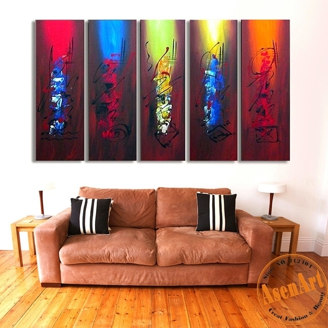 100% Hand Painted Canvas Oil Painting Abstract Canvas Wall Art 5Pcs intended for Cheap Large Canvas Wall Art