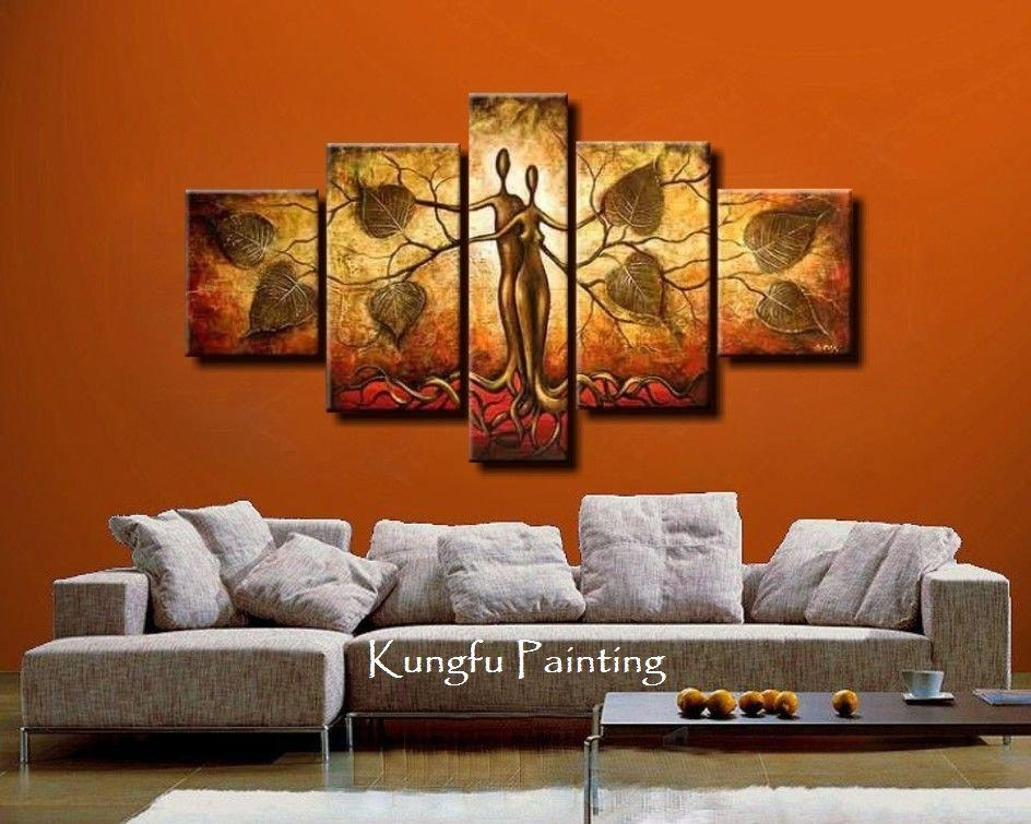 100% Hand Painted Discount Abstract 5 Panel Canvas Art Living Room In Living Room Painting Wall Art (View 2 of 25)