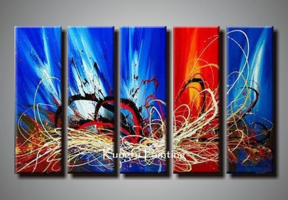 100% Hand Painted Unframed Abstract 5 Panel Canvas Art Living Room Pertaining To Panel Wall Art (Image 1 of 25)