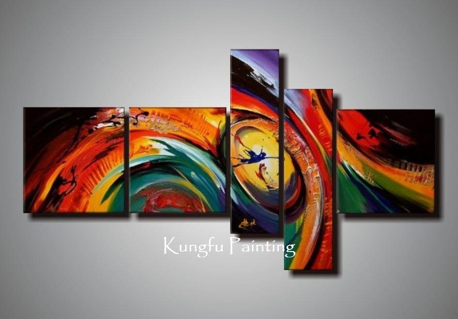100% Hand Painted Unframed Abstract 5 Panel Canvas Art Living Room Regarding Living Room Painting Wall Art (View 12 of 25)