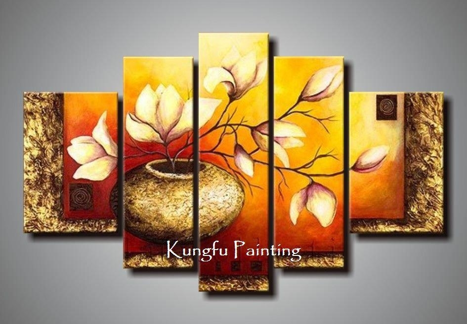 100% Hand Painted Unframed Abstract 5 Panel Canvas Art Living Room within Living Room Painting Wall Art