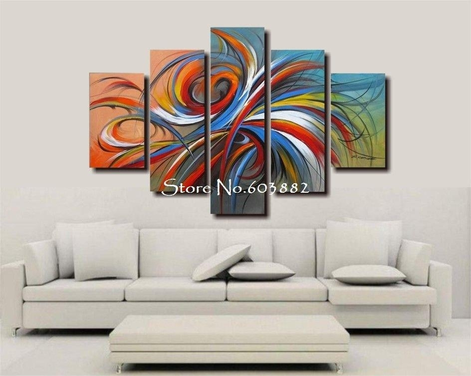 100% Handmade Discount Canvas Art Wall Art Canvas Modern Abstract In 5 Piece Canvas Wall Art (View 13 of 25)