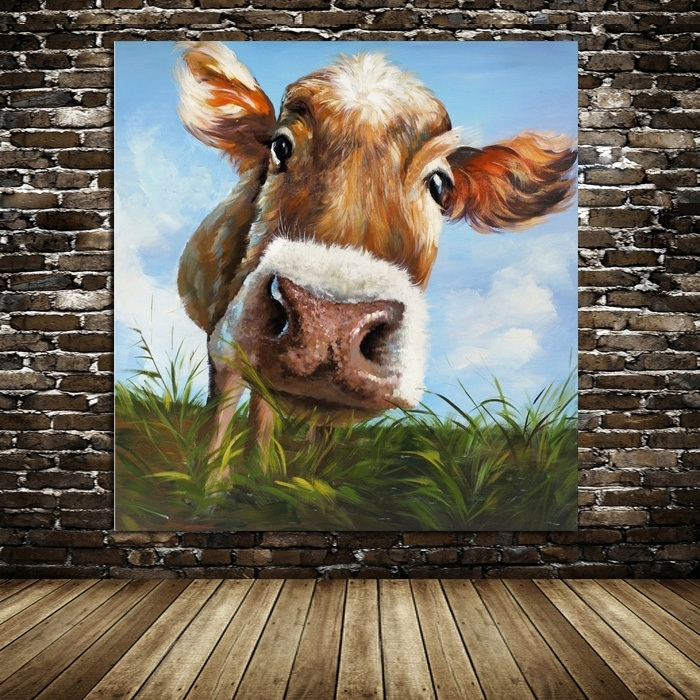 100%handpainted Modern Cow Pictures Abstract Art On Canvas Animals With Regard To Cow Canvas Wall Art (View 3 of 25)
