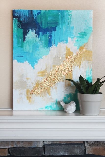 13 Creative Diy Abstract Wall Art Projects | ! Diy House Beautiful Regarding Oversized Teal Canvas Wall Art (View 6 of 25)
