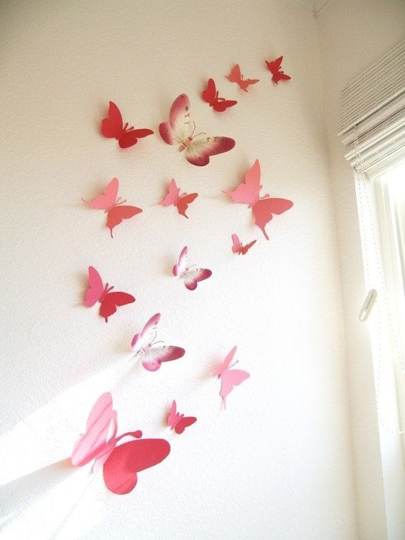 15 3D Paper Butterflies, 3D Butterfly Wall Art, Wall Decor With Butterfly Wall Art (View 7 of 10)