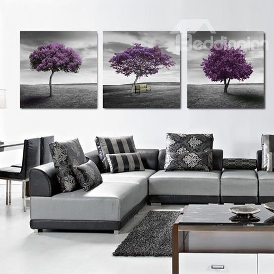 16×16In×3 Panels Purple Trees In Desert Hanging Canvas Waterproof with regard to Purple And Grey Wall Art