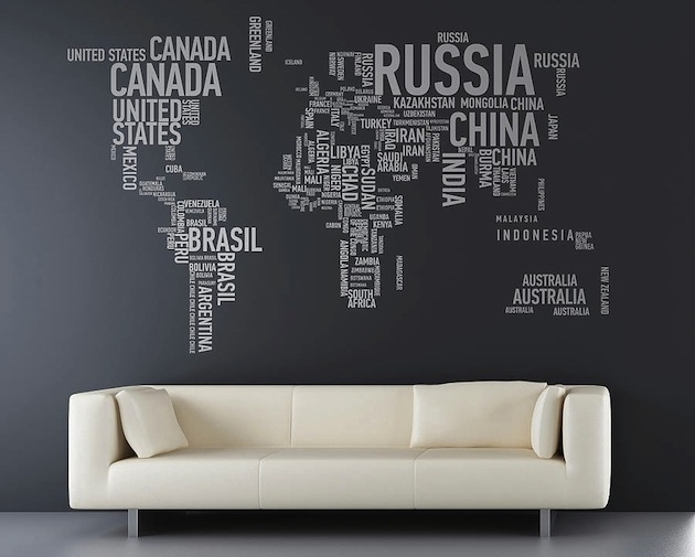 17 Cool Ideas For World Map Wall Art – Live Diy Ideas Inside Wall Art World Map (Image 1 of 25)