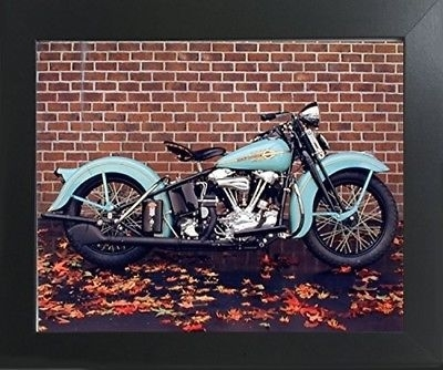 1938 Aqua Harley Davidson Vintage Motorcycle Wall Decor Art Print in Harley Davidson Wall Art