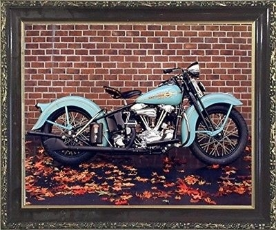 1938 Aqua Harley Davidson Vintage Motorcycle Wall Decor Art Print Within Motorcycle Wall Art (Image 1 of 25)