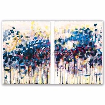 2 Panels Canvas Wall Art Simple Modern Abstract Oil Painting For in Modern Abstract Painting Wall Art
