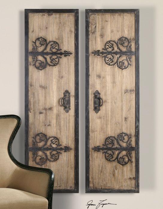 2 Xl Decorative Rustic Wood & Wrought Iron Wall Art Panels Oversized Regarding Wood And Metal Wall Art (Image 2 of 25)