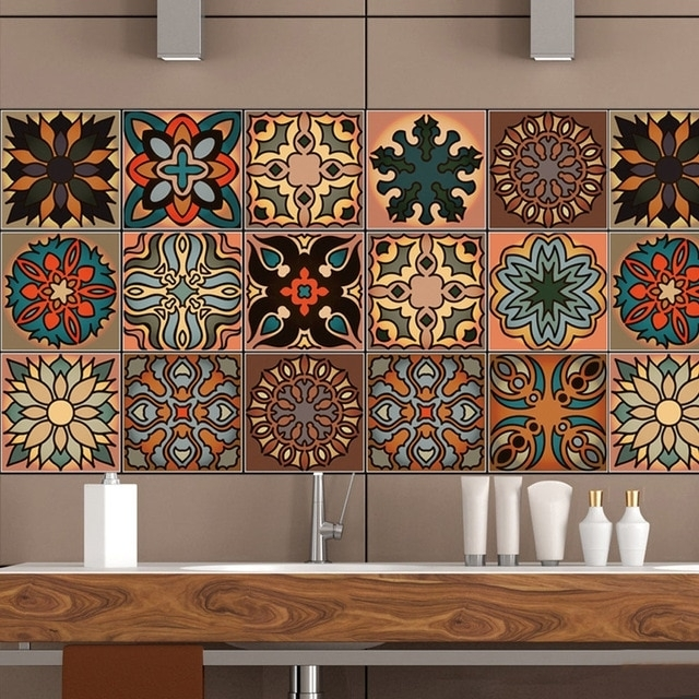 20*100Cm Moroccan Style Retro Pattern Tile Floor Wall Sticker with Moroccan Wall Art