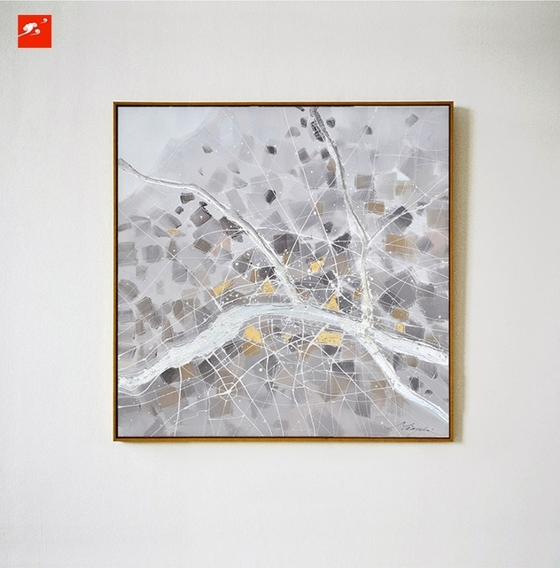 2016 Simple Grey Nordic Naturism Abstract Wall Art Oil Painting On for Gray Canvas Wall Art