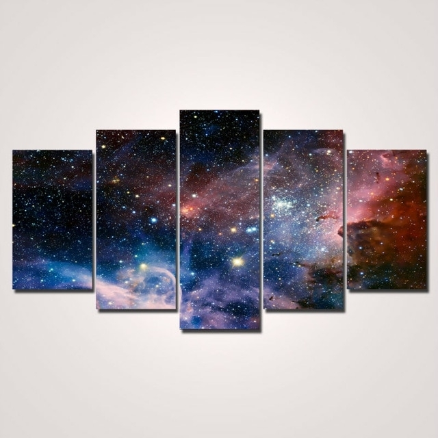 2017 Hot Sale Painting 5 Pieces/set Wall Art Space Canvas Painting intended for Panel Wall Art