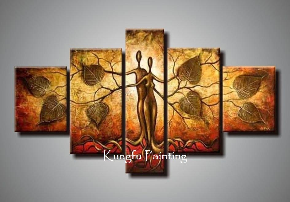 2018 100% Hand Painted Discount Abstract 5 Panel Canvas Art Living With Regard To Panel Wall Art (Image 3 of 25)
