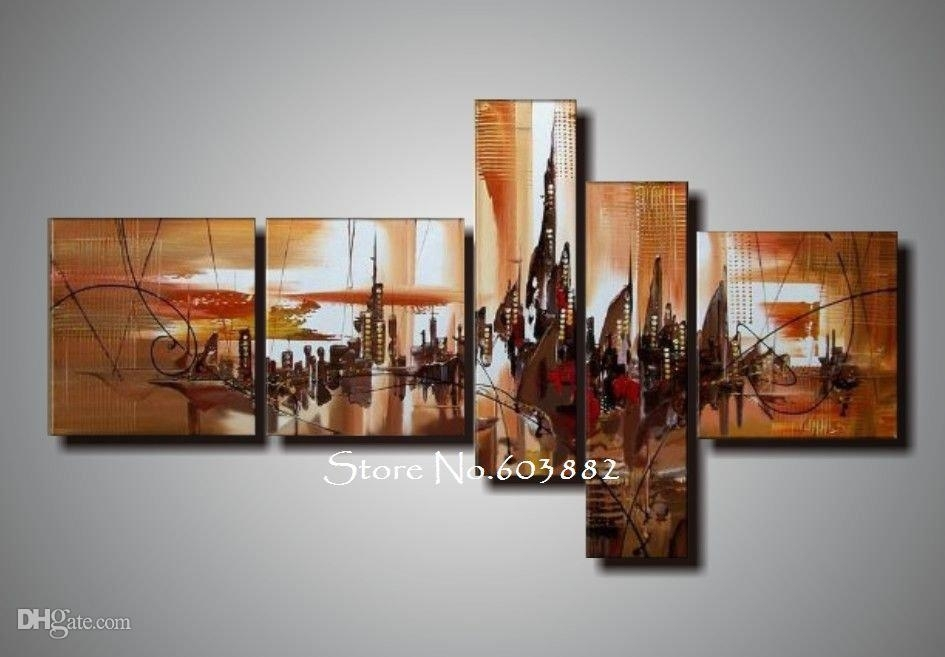 2018 100% Handmade Unframed Canvas Art Painting Acrylic On Canvas Pertaining To Five Piece Canvas Wall Art (Image 1 of 20)