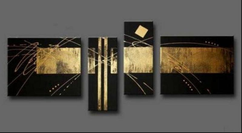 2018 100% Handpainted Black Gold Abstract Oil Painting On Canvas with Black and Gold Wall Art