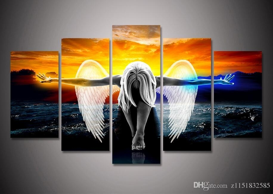 2018 2017 Hd Print Canvas Wall Art Angel With Wings Painting Anime For Five Piece Canvas Wall Art (View 10 of 20)