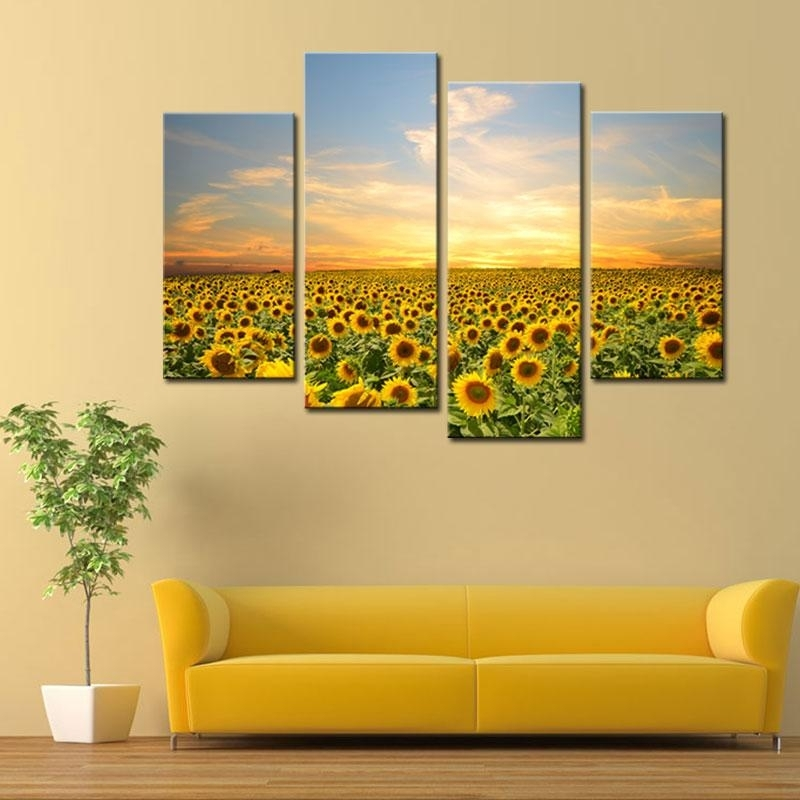 2018 4 Panels Sunflowers Canvas Paintings Landscape Pictures Intended For Sunflower Wall Art (View 8 of 25)