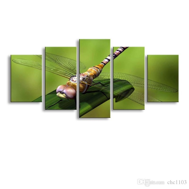 2018 5 Panel Dragonfly Painting Canvas Wall Art Picture Home Regarding Dragonfly Painting Wall Art (Image 1 of 25)