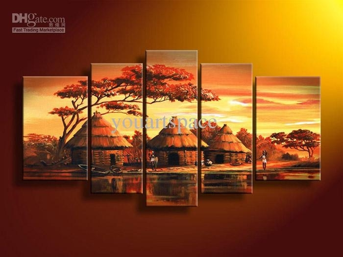 2018 5 Panel Wall Art African Abstract Orange Sunset Oil Painting On Pertaining To African Wall Art (Image 1 of 10)
