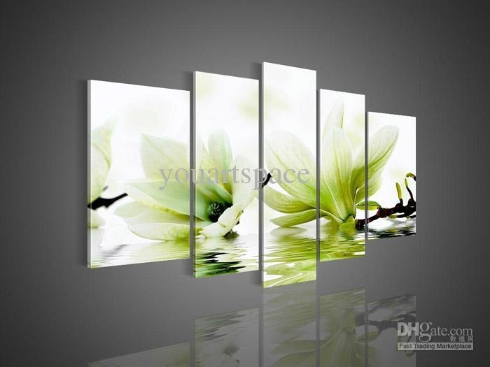 2018 5 Panel Wall Art Picture Modern Abstract Acrylic Flower Intended For Green Wall Art (Image 3 of 25)