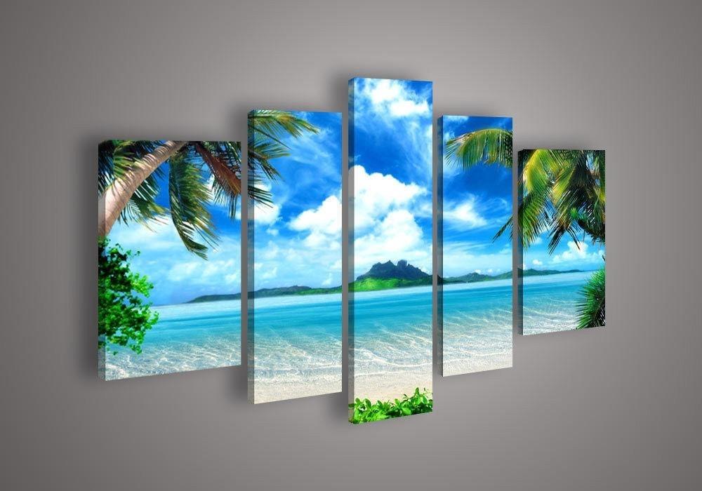 2018 5 Panel Wall Art Seascape Blue Ocean Picture Sea Oil Painting regarding Panel Wall Art