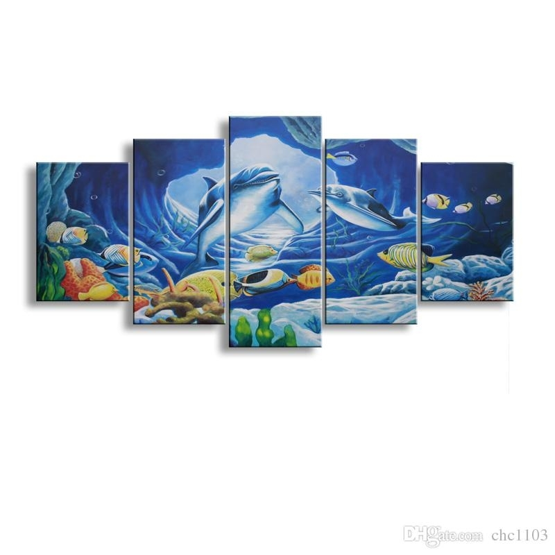 2018 5 Panel Whale Painting Canvas Wall Art Picture Home Decoration Inside Whale Canvas Wall Art (Image 1 of 25)