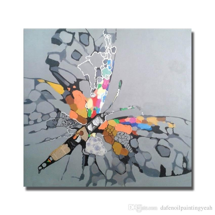 2018 Abstract Beautiful Butterfly Oil Painting Canvas Art Pictures Regarding Dragonfly Painting Wall Art (View 5 of 25)