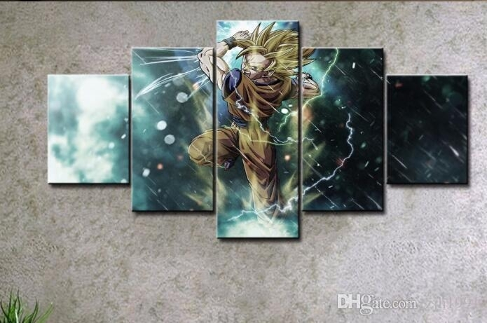2018 Canvas Prints Dragon Ball Goku Painting Wall Art Panels Poster Pertaining To Wall Art Panels (Image 1 of 25)