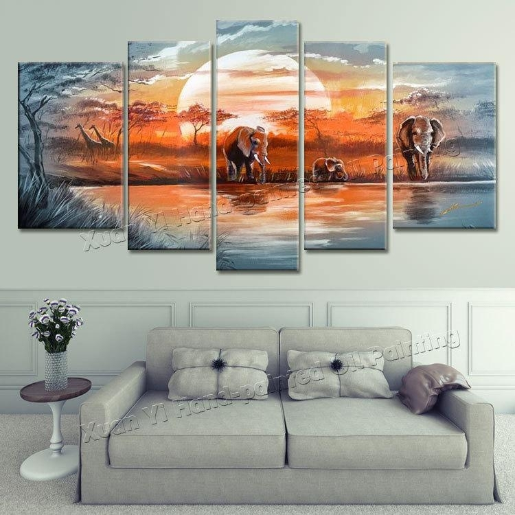 2018 Canvas Wall Art 100% Hand Painted Blue Lake Forest Elephants Within 5 Piece Canvas Wall Art (Image 2 of 25)
