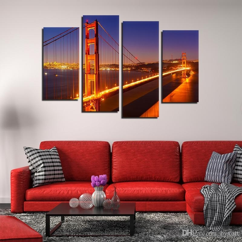 2018 Canvas Wall Art, Golden Gate Bridge Landscape Wall Art San With Regard To San Francisco Wall Art (Image 1 of 25)
