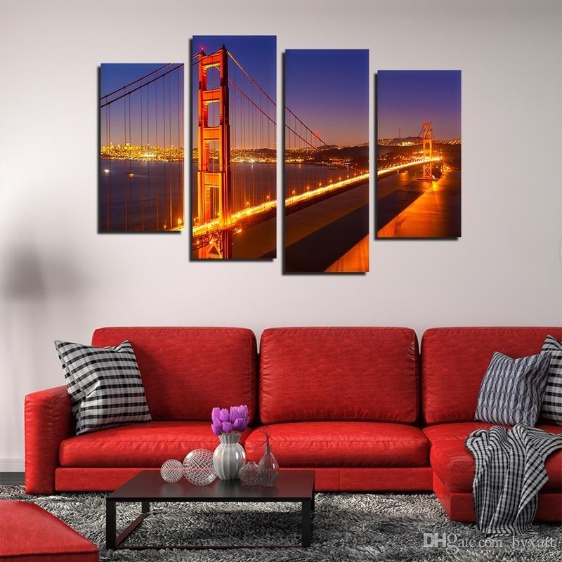 2018 Canvas Wall Art, Golden Gate Bridge Landscape Wall Art San With Regard To San Francisco Wall Art (View 18 of 25)