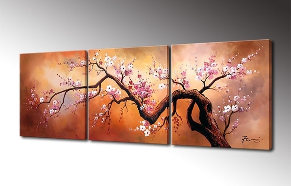 2018 Cherry Flower Painting Canvas Wall Art Decor Handmade Oil With Regard To Modern Wall Art Decors (Image 3 of 25)