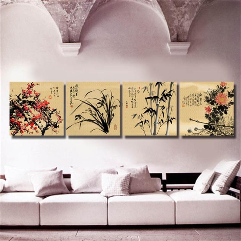 2018 Chinese Art Paintings Four Kinds Flower Wall Art Prints For Intended For Chinese Wall Art (View 19 of 25)