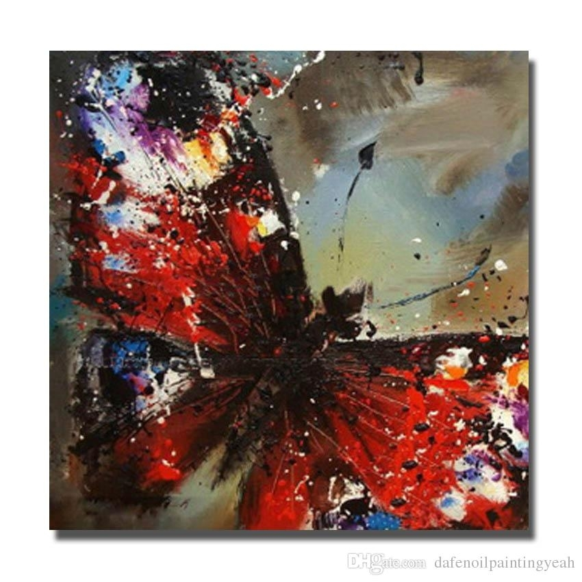2018 Chinese Wall Art Red Butterfly Oil Painting For Bedroom Within Chinese Wall Art (View 4 of 25)