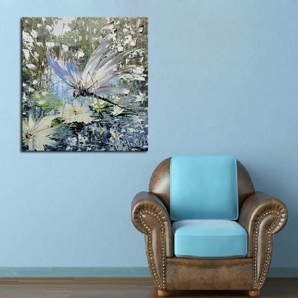 2018 Dragonfly Water Flower Oil Paintings On Canvas 100% Handmade For Dragonfly Painting Wall Art (Image 3 of 25)