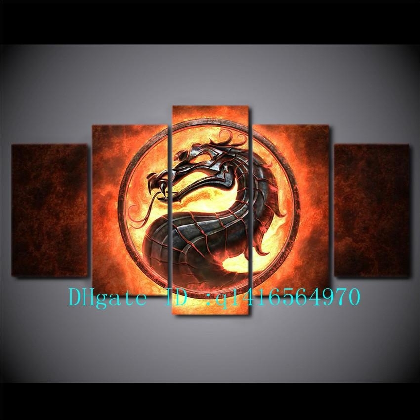 2018 Fire Dragon,canvas Prints Wall Art Oil Painting Home Decor Intended For Dragon Wall Art (View 18 of 25)
