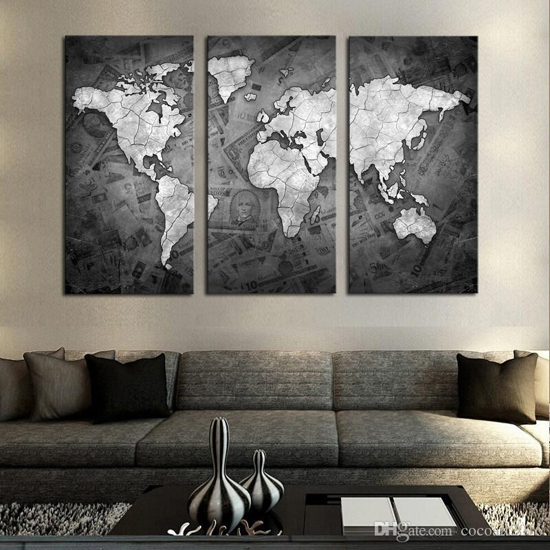 2018 Frameless Wall Art Classical Grey Color Modern World Map Canvas In World Map For Wall Art (Image 2 of 25)